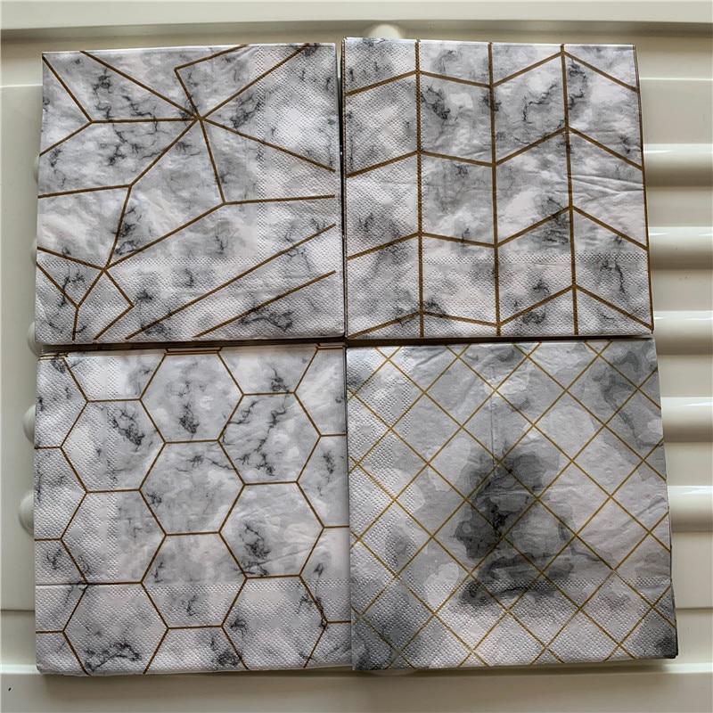 Decoupage Paper Napkins Elegant Tissue Vintage Towel Gray Gold Striped Happy Birthday Wedding Party Beautiful Hotel Decor 20