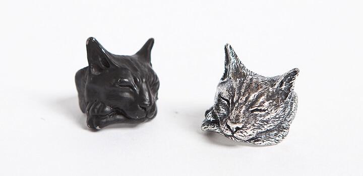 Einzigartige handgemachte Boho Chic Retro faulen Katzenring Lanmao Ring weibliche und männliche Haustierliebhaber Geschenkidee - 12 Stück / Los (3 Farben freie Wahl)
