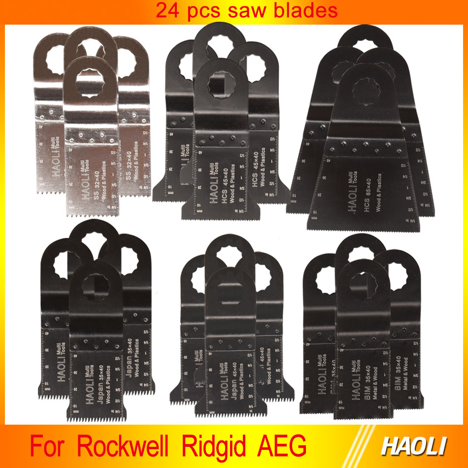 ФОТО 24 pcs 32-65mm oscillating muti tool saw blades for power tools as Ridgid,Worx Sonicrafter,AEG,wood metal cutting,high quality