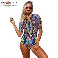 SEBOWEL Sexy Abstract Print Zip Front Half Sleeve One Piece Swimsuit 2019 Summer Women Push Up Plus Size Skinny Swimwear