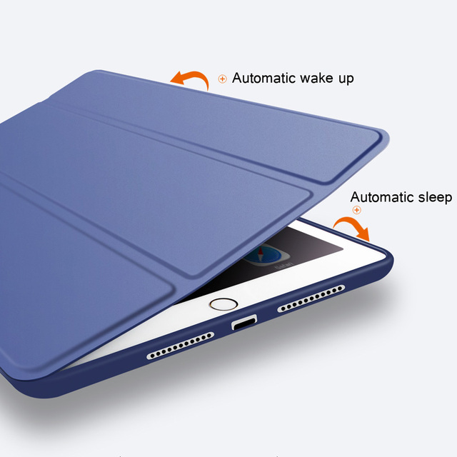 Case for New iPad 9.7 inch 2017 2018 Air 1 Air 2  Funda Soft silicone bottom Back PU Leather Smart Cover Auto Sleep 5