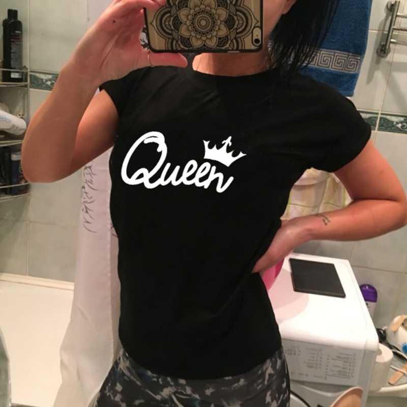 KLV גברים נשים מלכת מלך הדפסת מכתב שרוול קצר חולצה העליון זוג משפחה O-צוואר חולצת טריקו שחור הקיץ למעלה חם!!!