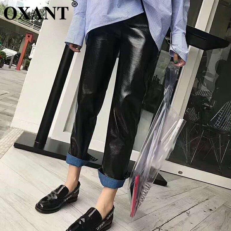 OXANT PU cuir pantalon pour femmes bouton de fermeture éclair taille haute lâche pantalon droit femme 2019 automne mode nouveau