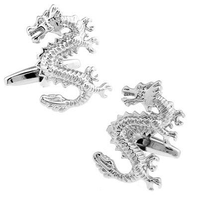 Men Jewellery Dragon Cufflinks Wholesale&retail Silver Color Copper Animal Dragon Design Best Gift For Men