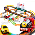 89pcs the Train Friends Mini Motorized Battery Track Orbital Electric Trains Rail Car Baby Children Railway Toys Boys Girls