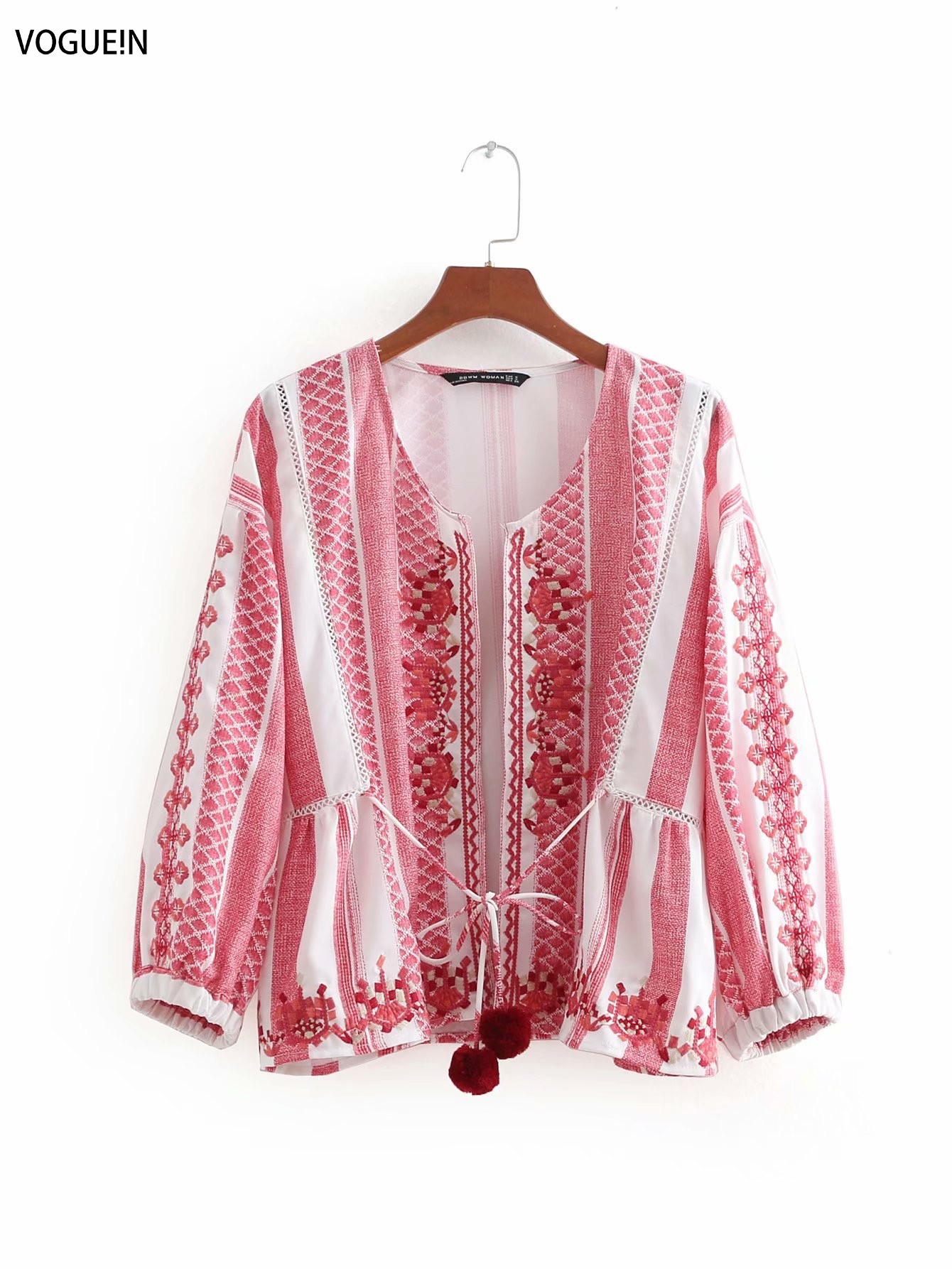VOGUEIN New Womens Ethnic Retro Red Embroidered Cardigan Tops   Blouse     Shirt   Wholesale