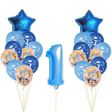 AVEBIEN 1year Birthday Sequin Balloon Suit star 1st Boy Girl Baby One Year Old Party Decoration Powder Blue Confetti 21