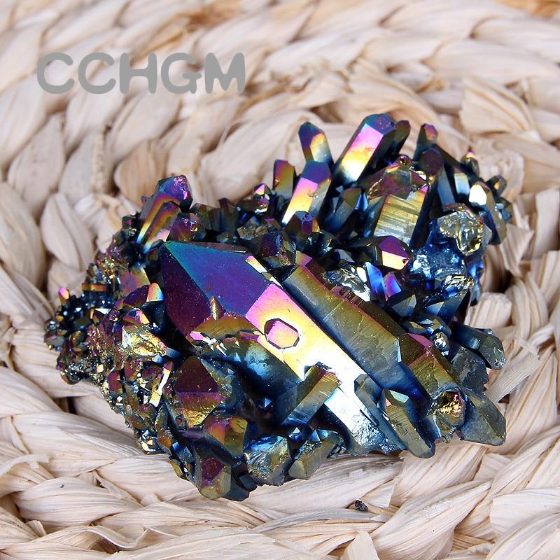 100g titanio Natural Punto de cristal de cuarzo Cluster Drusy Geode curación piedras naturales minerales inicio colgantes Decoración