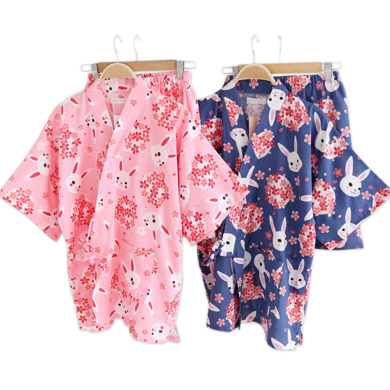 Kawaii Sakura Rabbit Kimono Women Short Pajamas Sets Summer 100% Cotton Japanese Yukata Shorts Bathrobes Short Sleeves Homewear