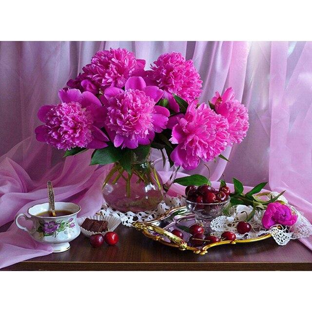 5D DIY Diamond Painting Flowers Rhinestones Full Square Diamond Embroidery  Vase Cross Stitch Mosaic Home Decor Colorful d54f57844096