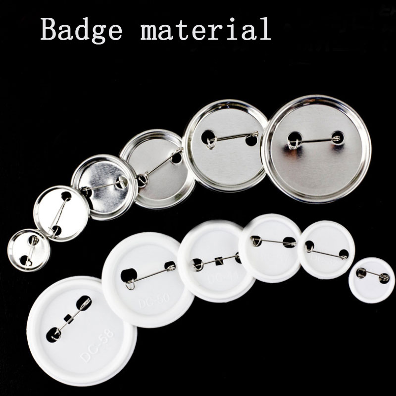 1000 Sets Professional Metal/plastics Badge Maker Blank Pin Parts Button Badge Material 25 32 37 44 50 56 58 75mm