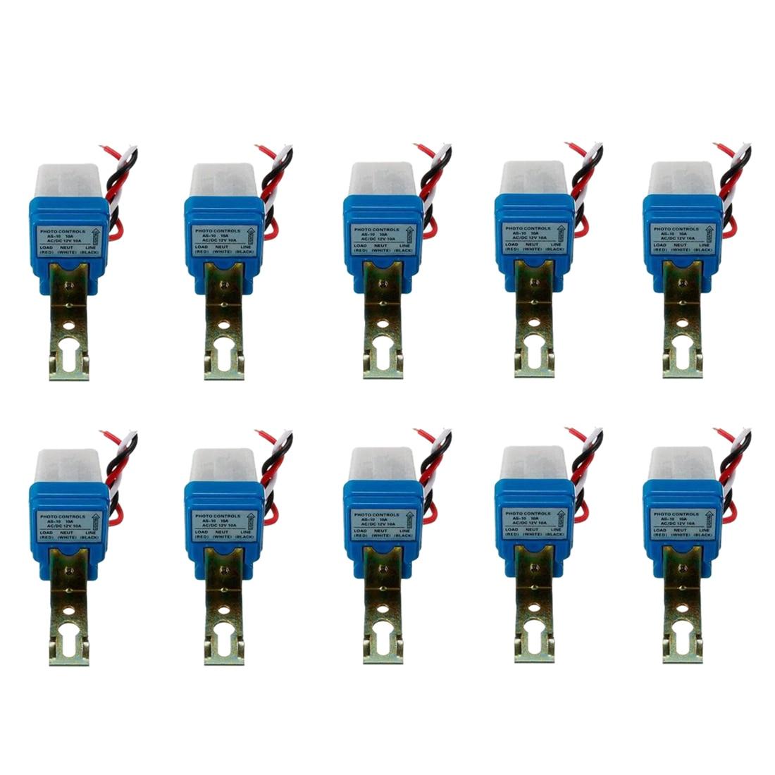 10Pcs Auto On Off Photocell Street Light Photoswitch Sensor Switch AC/DC 12V 10A