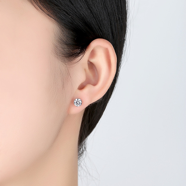 925 Sterling Sliver Stud Earrings 2 Carat  4