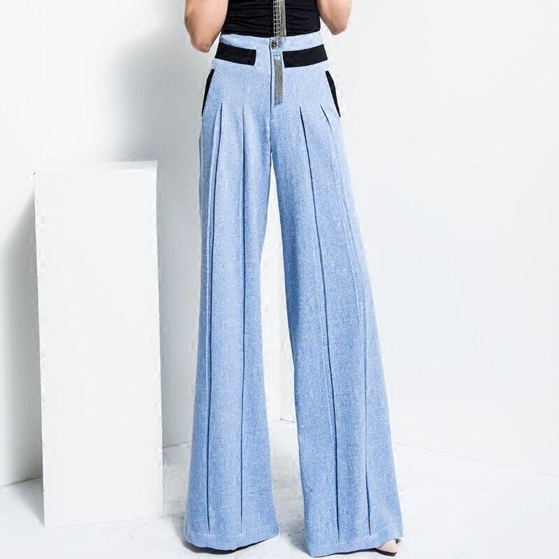Vrouwen Nieuwe Effen Kleur Rechte Broek Blauw Hoge Taille Streetwear Casual Mode Groothandel Wijde Pijpen Broek Plus Size TrousersMK0018