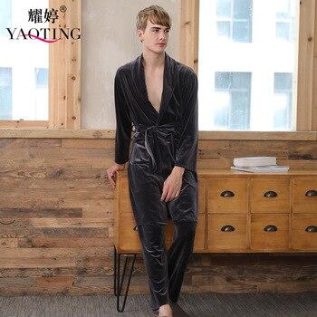 Long sleeve male velour robe set winter solid robe pants set solid belt with pockets men lounge set