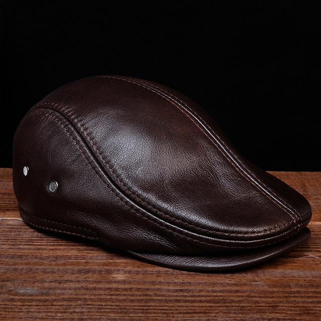 HL042 men's genuine real leather baseball caps hats black brown coffee brand new cow skin beret newsboy hat cap