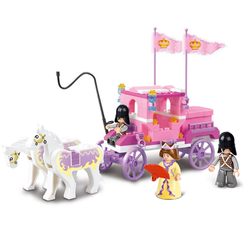 BOHS Pink Friends Dream Royal Family Queen Carriage Building Blocks Toy Bricks