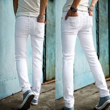 Высокое качество,, Модные узкие мужские белые джинсы, мужские брюки, мужские повседневные штаны, узкие брюки для мальчиков в стиле хип-хоп, pantalon homme