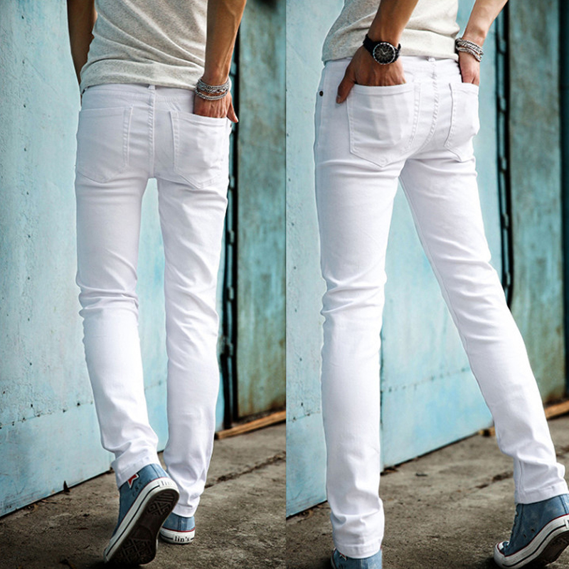 High Quality 2019 Fashion Slim Male White Jeans Men' Trousers Mens Casual Pants Skinny Pencil