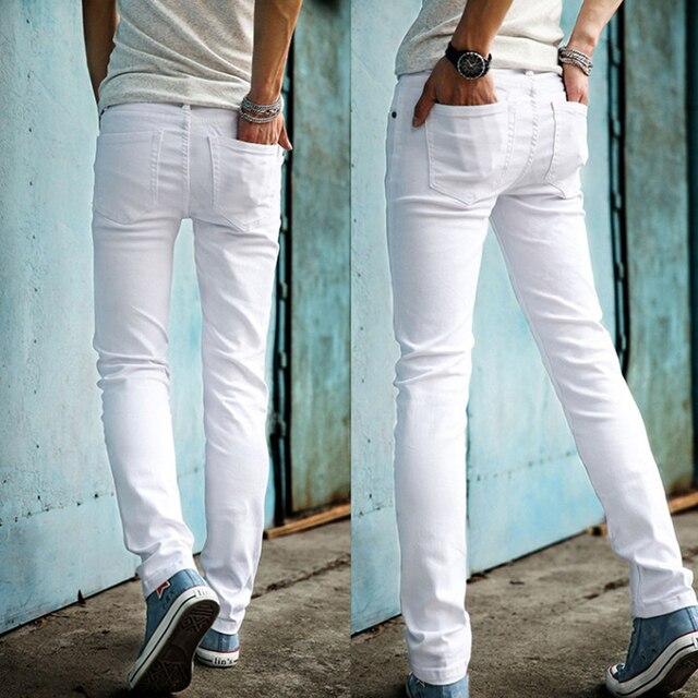 b6ed3ecb2d High Quality 2019 Fashion Slim Male White Jeans Men s trousers Mens Casual Pants  Skinny Pencil Pants Boys Hip Hop pantalon homme