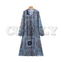 CUERLY women retro floral paisley print V neck midi dress 2019 long sleeve straight sashes female elegant vintage chic dresses