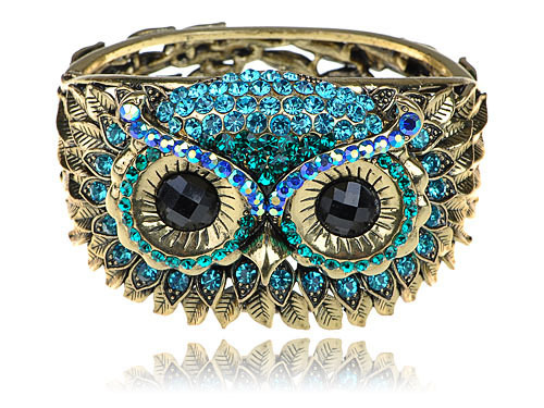 Antique-Inspired Gold-Blue Crystal Owl Bracelet