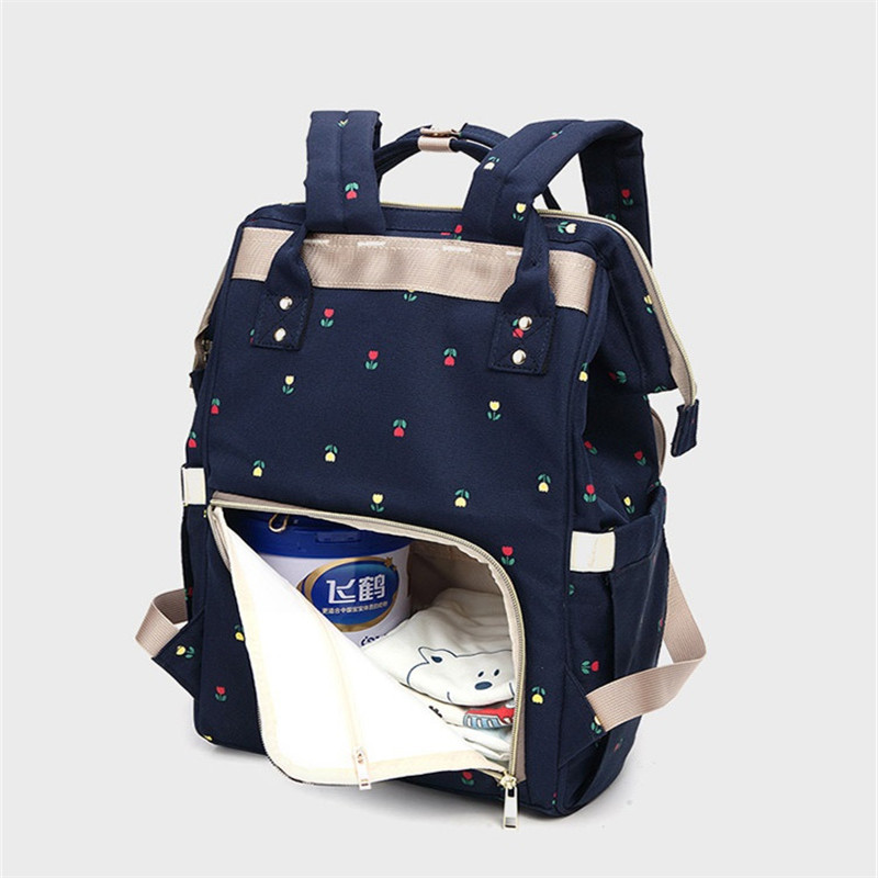 2 Colors Korean Flower Printed Zipper Loadable Handle Oxford Material Mummy&Baby Outdoor Diaper Change Backpack With Key Chain2 Colors Korean Flower Printed Zipper Loadable Handle Oxford Material Mummy&Baby Outdoor Diaper Change Backpack With Key Chain