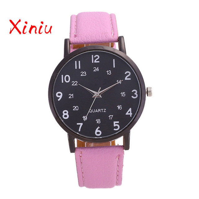 Female Watch 2018 Pu Leather Pink Black Ladies Watch Top Brand Quartz Clock Horl
