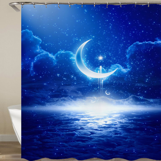High Quality Space Pattern Shower Curtain Polyester Fabric Galaxy Stars Universe Starry Sky Design Waterproof Bathroom
