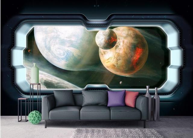 Behang Kinderkamer Ruimtevaart : Aangepaste d muurschilderingen ruimtevaartuig d foto behang