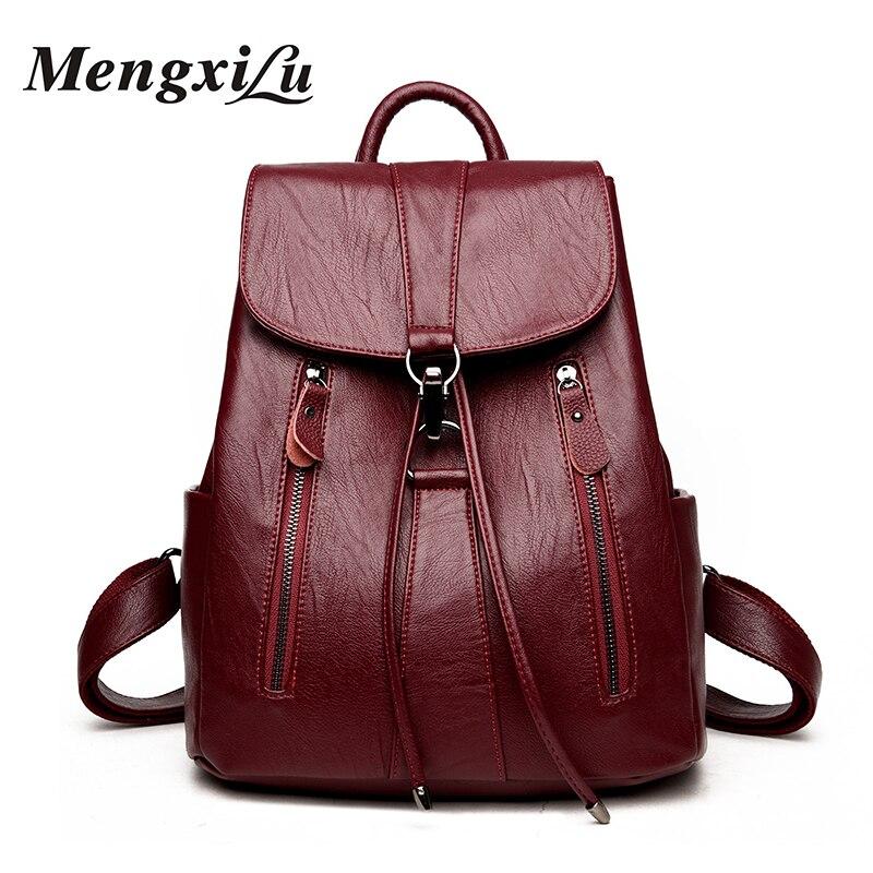 MENGXILU Soft Women Backpack School Bags For Teenager Girls High Quality PU Leather Backpack Women Large Capacity Women Bags high quality pu leather women backpack