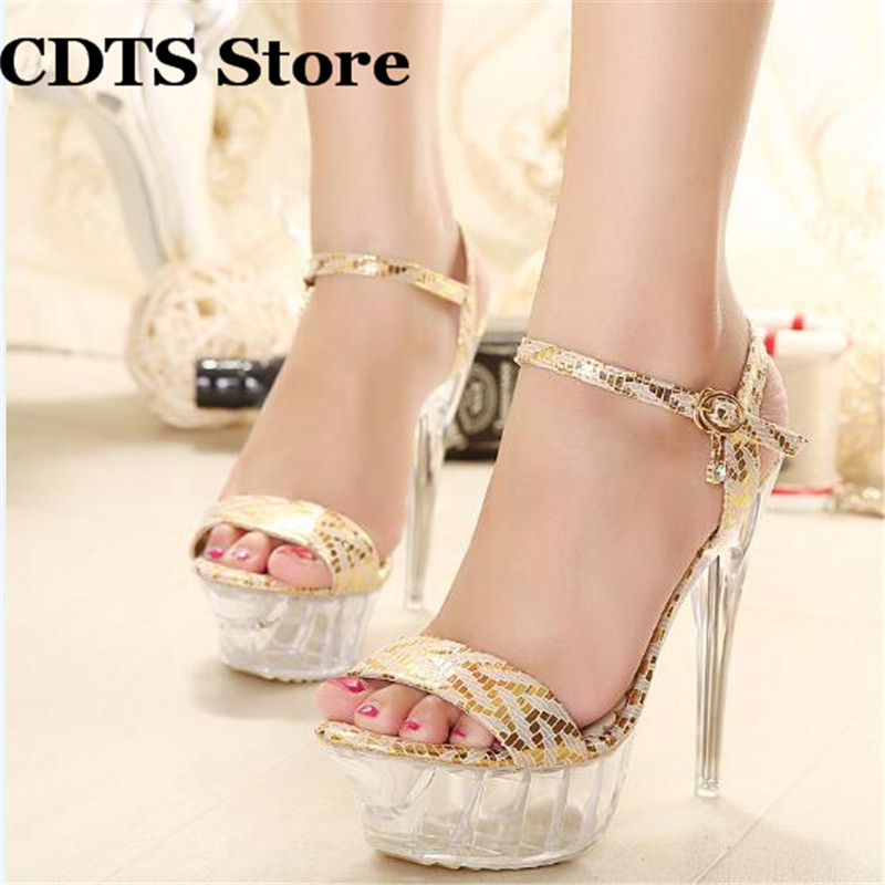 Crossdresser Plus:35-42 43 Summer ladies transparent platforms Pumps Sexy 14cm thin Heels Sandals woman Gold/Sliver shoes cdts shoes woman plus 35 46 summer new ladies crystal dice platforms sandals 20cm thin high heels sexy wedding pumps