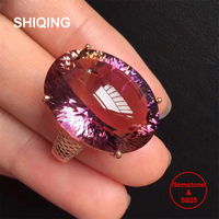 SHIQING 15*20 super big Ametrine gemstone silver mash ring for party