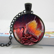 Fire Dragon Necklace Handmade glass dome Jewelry Pendant Dragon Jewelry game of thrones dragon necklace