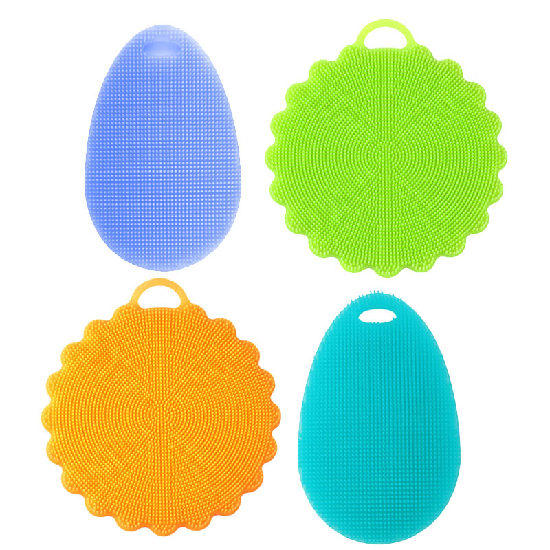 4 Pcs Magic Wash Brushes Silicone Dish Bowl Cleaning Brushes Scouring Pad Pot Pan Easy to clean Cleaning Brushes Kitchen Tools