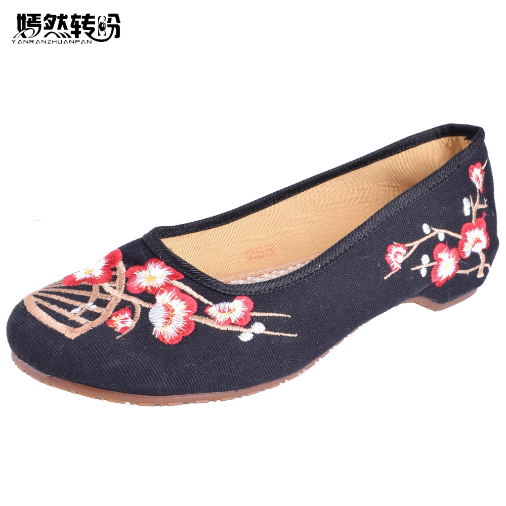 Chinese Women Flats Canvas Embroidery Shoes Floral Old Beijing Wedding Cloth Soft Shoes National Embroidered Dance Ballet Shoes women flats summer new old beijing embroidery shoes chinese national embroidered canvas soft women s singles dance ballet shoes