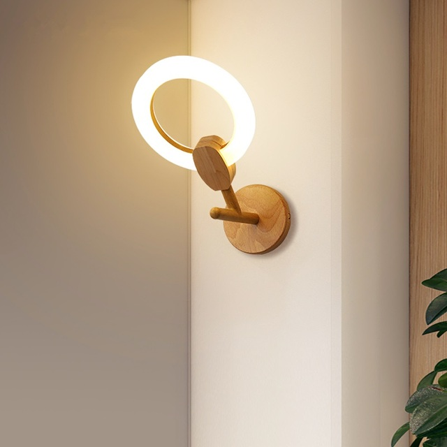 Postmodern Wooden Sconce Wall Lamp Light