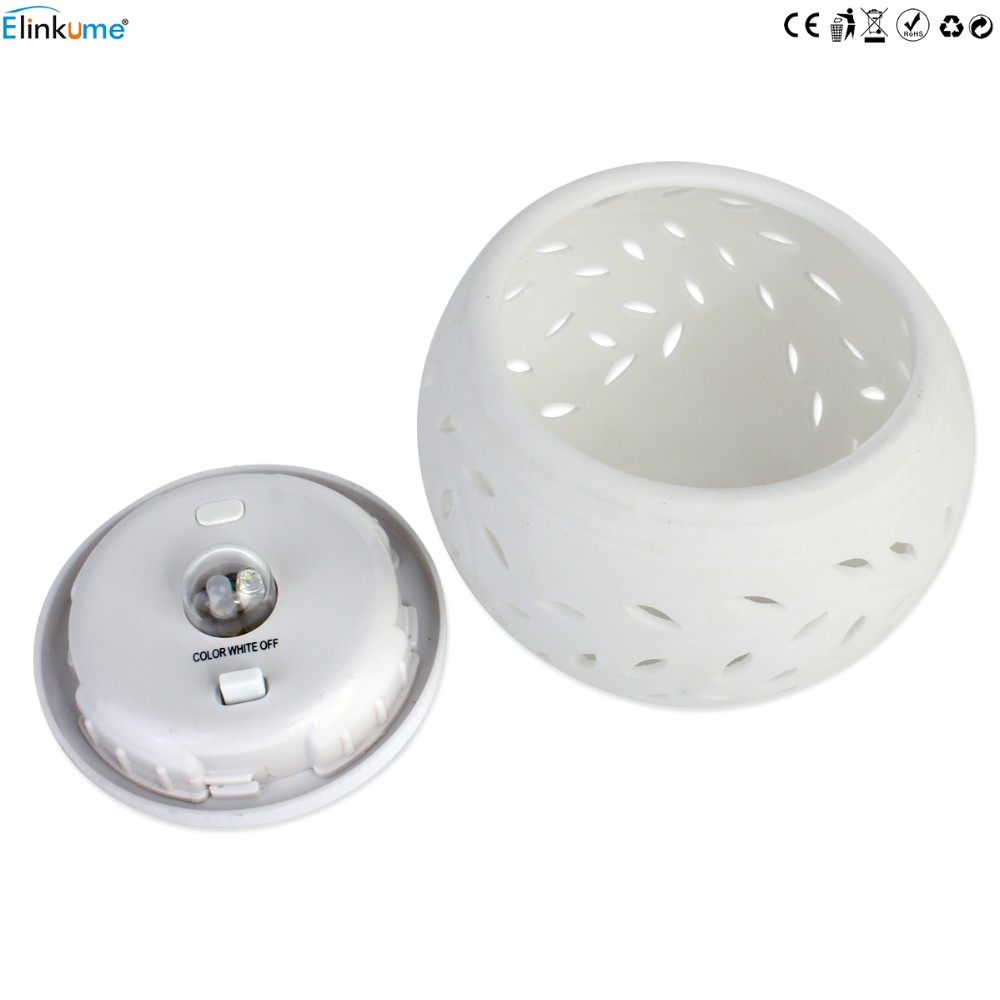 Elinkume Romantic Design Changing Colour Ceramic LED Solar Lamp IP44 waterproof Sun Powered Table Garden Round Light Sun Light 6