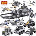 Blocos de construção de Aeronaves Transportadora navio avião tanque de polícia da cidade de Ônibus militar 8 em 1 Modelo Crianças Brinquedos Melhores Crianças Xmas presentes