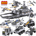 Building Blocks  Aircraft Carrier airplane ship Bus tank police city Military 8 in 1 Model Kids Toys Best Kids Xmas Gifts