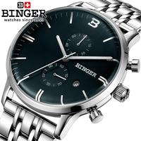 Switzerland Watches Men Luxury Brand Wristwatches BINGER Quartz Watch Glowwatch Full Stainless Steel Chronograph Diver BG
