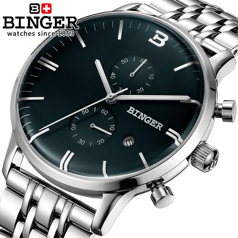 Switzerland men's watch luxury brand Wristwatches BINGER Quartz watch glowwatch full stainless steel Chronograph Diver B1122-2 switzerland men s watch luxury brand wristwatches binger quartz watch full stainless steel chronograph diver glowwatch bg 0407 4