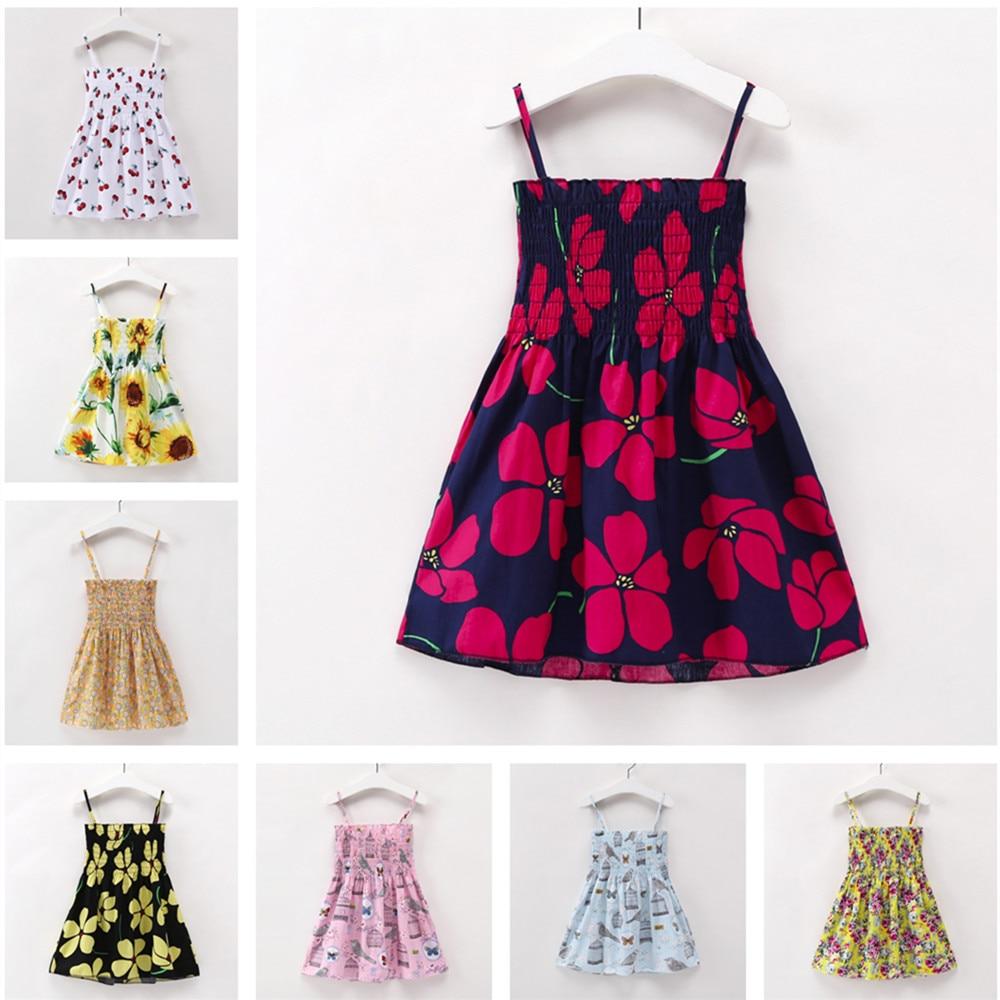 2-7y Kids Baby Girls Clothing Children Girls Sleeveless Print Dress Soft Cotton Princess Dresses Girl Clothes Backless Dress стоимость
