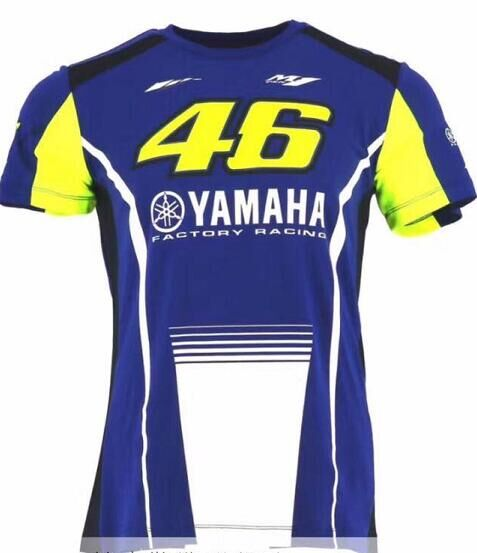 2017 <font><b>Motorcycle</b></font> Men's Valentino <font><b>Rossi</b></font> VR46 46 dual <font><b>Moto</b></font> <font><b>GP</b></font> Monza Cotton <font><b>T-shirt</b></font> Blue White for Yamaha Sleeve Tee