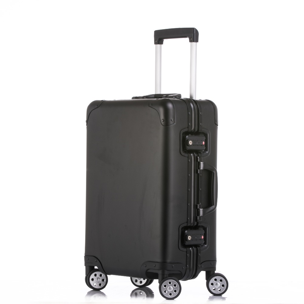 Suitcases 2024full Aluminum Luggage Travel Trolley Suitcase Metal Hardside Rolling Luggage Suitcase Carry On Luggage Boarding Case 2019 Official
