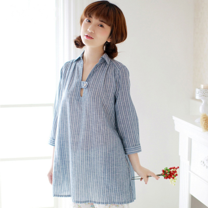 Pregnant Maternity Pajamas Clothes Cotton Linen Shirt Women Breastfeeding Nursing Nightgown Pajamas Sleepwear Nightwear