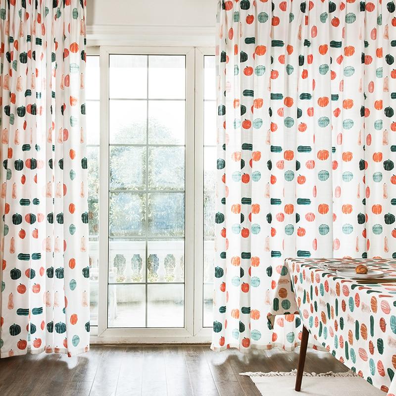 Custom gordijnen moderne Eenvoudige Nordic afdrukken kleurrijke pompoen katoen woonkamer slaapkamer venster doek verduisteringsgordijn M384 - 2