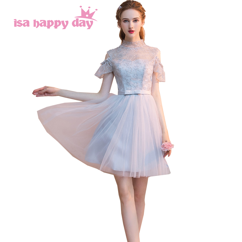 teen girl events sexy vintage grey tulle korean prom ball gowns gown lady dresses high neck women's dress short 2018 H4255