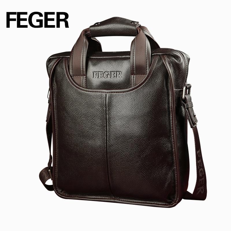 Feger 2018 Hot Sale Genuine Leather Business Briefcase Portable Laptop Handbag Casual Purse Sacoche Homme Marque Crossbody