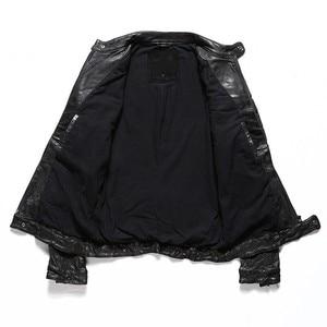 Image 3 - Chaqueta corta estrecha de cuero auténtico para hombre, chaqueta de motociclista Vintage de piel de oveja lavada para motocicleta italiana